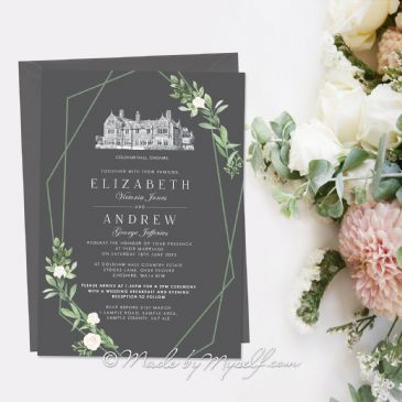 Geo Leafy Venue Wedding Invitation